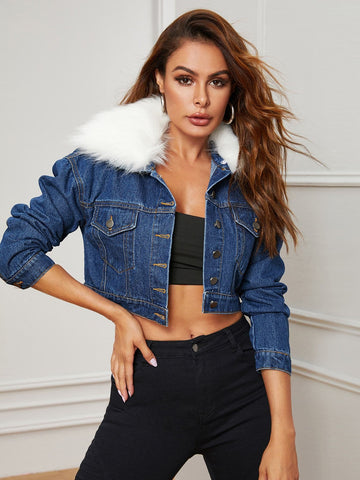 Blue Single Breasted Faux Fur Collar Cropped Denim Trucker Jacket