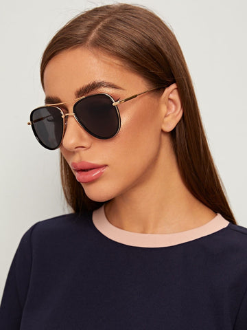 Black Top Bar Metal Frame Sunglasses