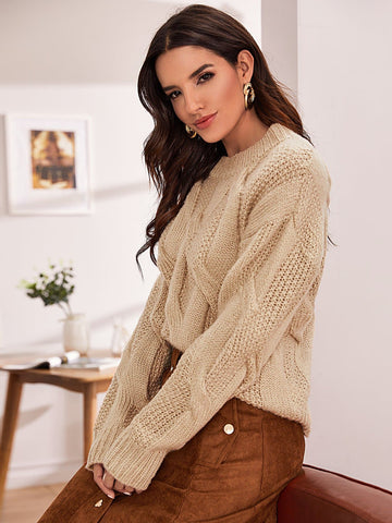 Pastel Khaki Round Neck Drop Shoulder Mixed Knit Sweater