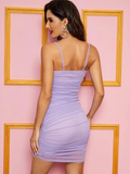 Spaghetti Strap Sleeveless Solid Ruched Detail Mesh Bodycon Cami Dress