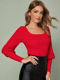 Square Neck Square Neck Gigot Sleeve Slim Tee Top