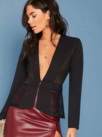 Black Single Breasted Plunging Neck Mesh Insert Blazer