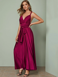 Spaghetti Strap Sleeveless Crisscross Backless Tie Front Solid Dress