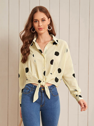 Beige Polka Dot High Low Knot Hem Blouse Top
