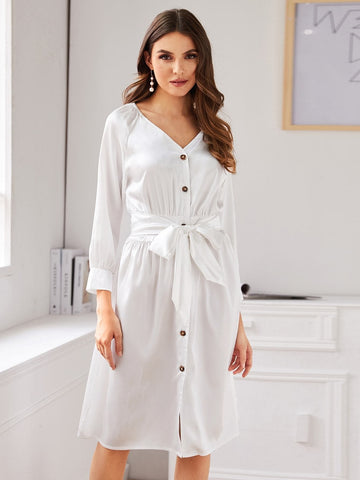 White V-Neck Tie Front Button Through Satin Dress