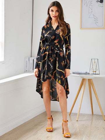 Notched Neckline Chain Print Belted High Low Hem Dress