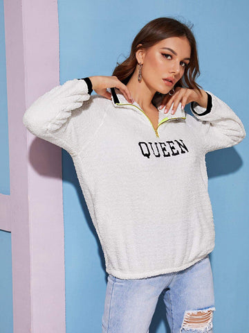 White Stand Collar Letter Embroidery Half Zip Teddy Sweatshirt