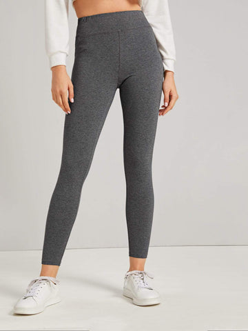 Grey Sporty Wide Band Waist Solid Leggings