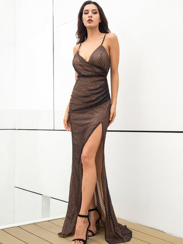 Brown Spaghetti Strap Sleeveless Split Thigh Sequin Mesh Overlay Cami Prom Dress Gown