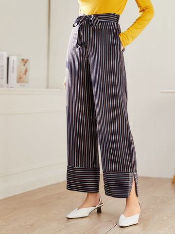 Mid Waist Zipper Fly Striped Belted Wide Leg Pants