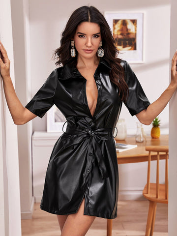 Black Self Belted PU Shirt Dress