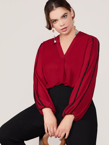 Plus Size Burgundy V-neck Contrast Binding Lantern Sleeve Blouse Top