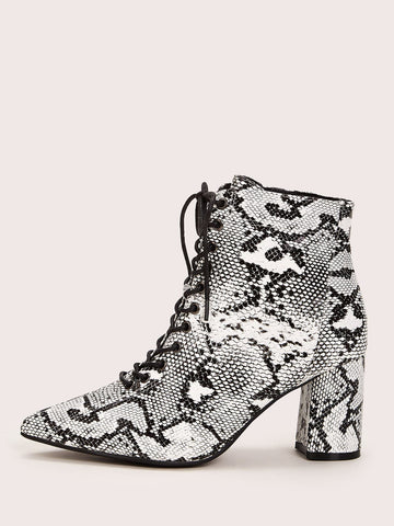 Point Toe Snakeskin Chunky Ankle Boots