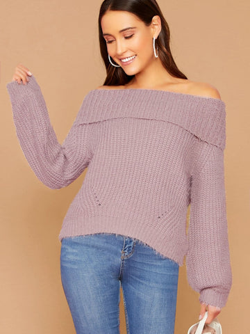Purple Folded Off Shoulder Knitted Sweater