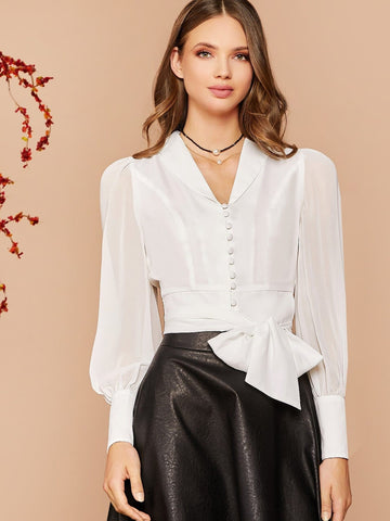 White Shawl Collar Lantern Sleeve Button Front Belted Blouse Top