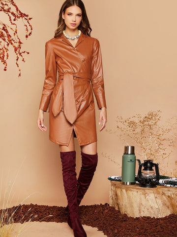 Lapel Neckline Asymmetric Placket Belted Faux Leather Dress