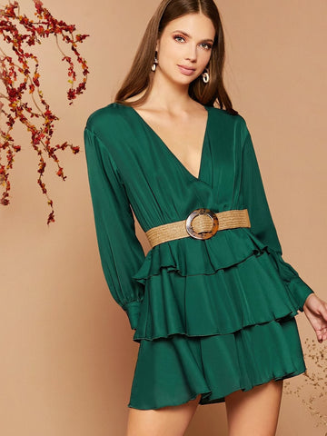 Green V-Neck Balloon Sleeve Self Belted Layered Dress