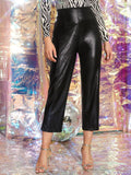 Black Straight Leg Solid High Waist PU Leather Pants