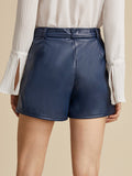Navy Blue Mid Waist Slant Pocket Belted PU Leather Shorts