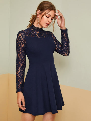 Navy Blue Stand Collar High Waist Lace Yoke Fit & Flare Dress