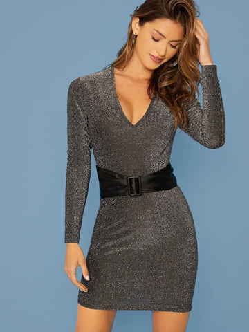 Black Plunge V-Neck Belted Glitter Bodycon Slim Fit Pencil Dress