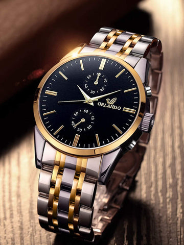 Two Tone Black Gold Band Round Dial Pointer Quartz Watch