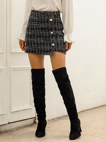 Black Tweed Pearls Button Front Wrap Skirt