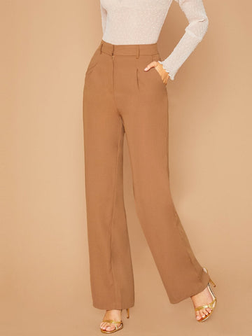 High Waist Pleated Wide Leg Trouser Pants With Pockets