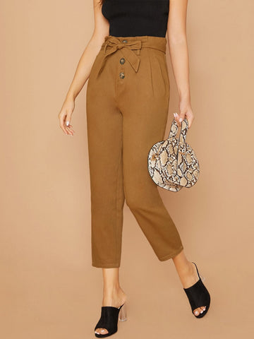 High Waist Cropped Paperbag Waist Tie Tapered Twill Pants
