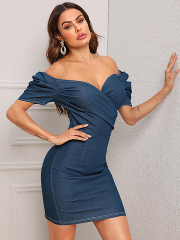 Navy Blue Off Shoulder Puff Sleeve Contrast Stitch Wrap Denim Dress