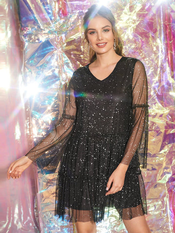 Black High Waist V-neck Glitter Mesh A-line Dress
