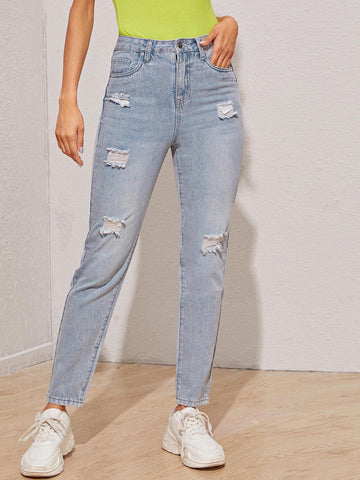 Pastel Blue Bleach Wash Ripped Detail Boyfriend Jeans