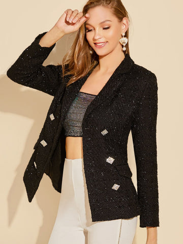 Black Double Notched Collar Rhinestone Buttoned Tweed Blazer