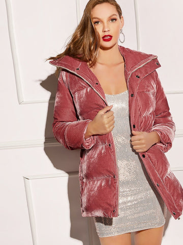 Pink Single Breasted Press Buttoned Zip Up Velvet Padded Coat