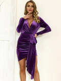 Plunge V-Neck High Waist Slim Fit Ruched Draped Velvet Dress
