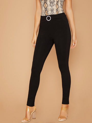 Black High Waist Rhinestone Crystal Buckle Detail Skinny Pants