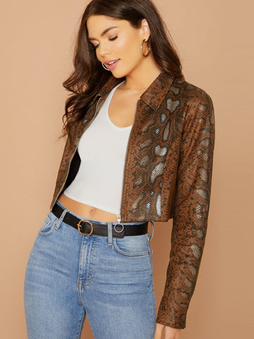 Brown O-Ring Zip Front Faux Leather Python Jacket