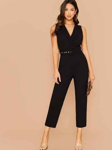 Black Notched Collar Buckle Belted Sleeveless Jumpsuit