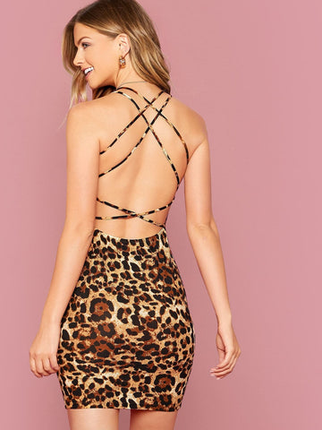Sleeveless Crisscross Backless Slim Fit Leopard Dress