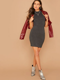 Stand Collar Sleeveless Mock Neck Solid Bodycon Dress