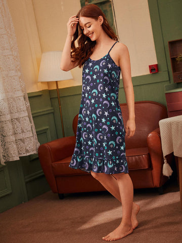 Star & Moon Print Spaghetti Strap Sleeveless Cami Night Dress Sleepwear With Eye Mask
