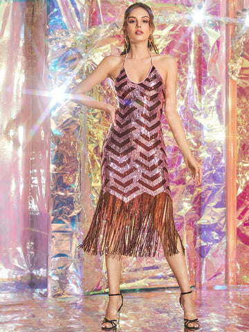 Sleeveless Fringe Hem Sequin Halter Fitted Dress