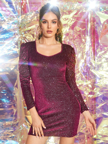 Burgundy Glitter Puff Sleeve Bodycon Dress