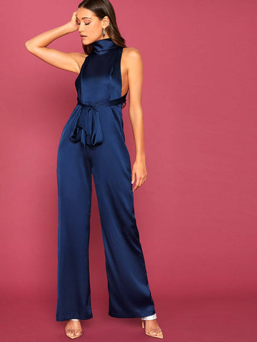 Navy Blue High Cowl Neck Sleeveless Tie Front Backless Satin Palazzo Jumpsuit