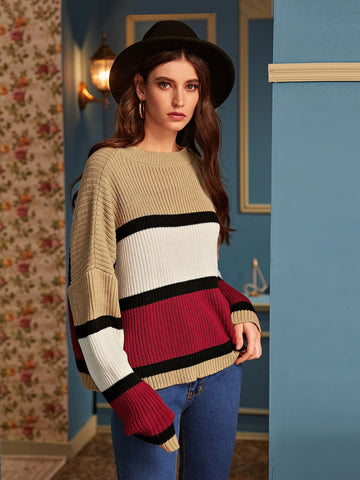 Round Neck Color-block Drop Shoulder Ribbed Knit Sweater