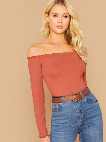 Orange Slim Fit Off Shoulder Lettuce Trim Rib-knit Top