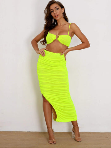 Bright Neon Lime Green Sleeveless Crop Cami Top & Ruched Slit Hem Skirt Set
