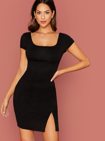 Square Neck Split Hem Slim Fit Mini Dress