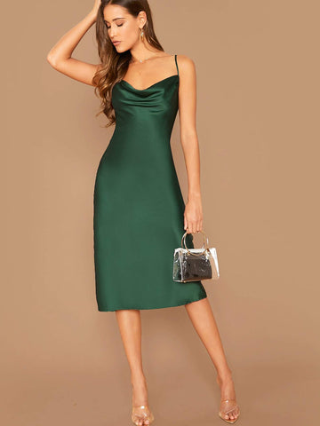 Green Sleeveless Spaghetti Strap Draped Neck Satin Cami Dress