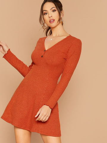 Bright Orange V-Neck  Buttoned Half Placket Rib-knit Dress